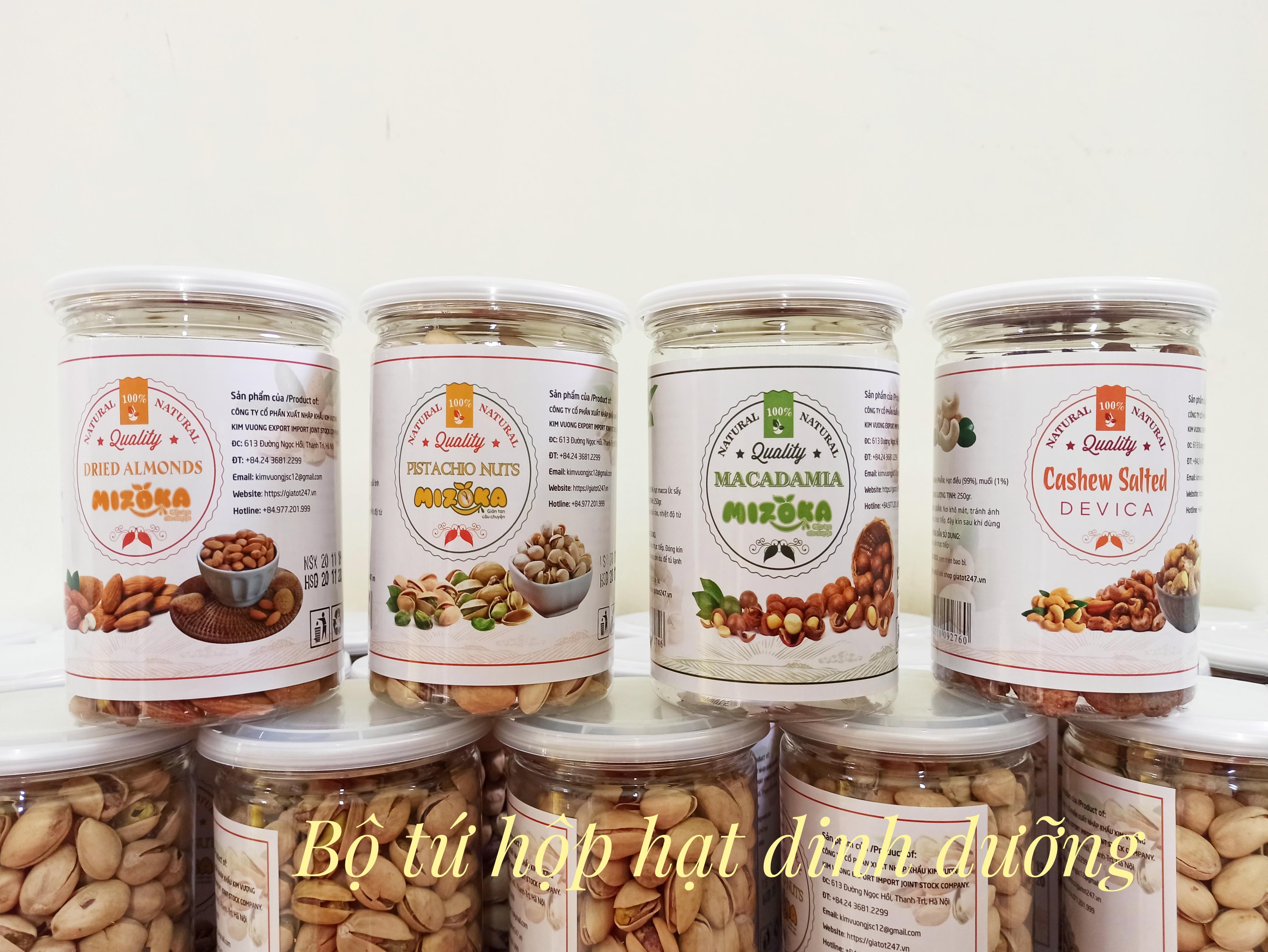 Bộ tứ hũ hạt dinh dưỡng cao cấp gồm hạt điều, hạt hạnh nhân, hạt macca, hạt dẻ cười